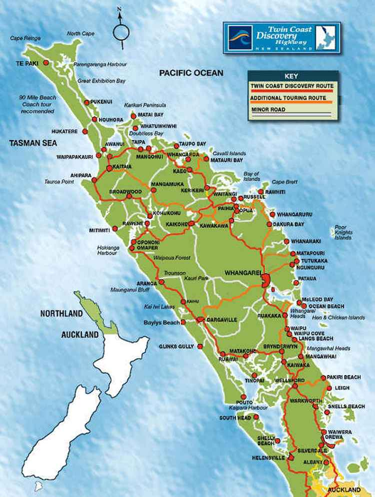 Northland New Zealand and Twin Coast Discovery map Far North nz – New Zealand Tourist Attractions Map